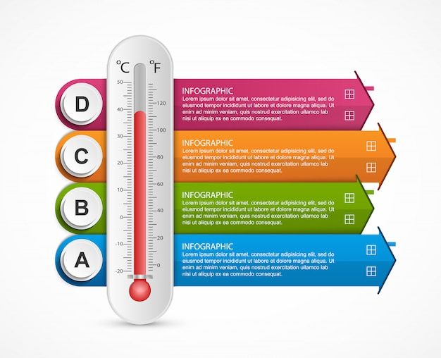 Infografiken elemente thermometer
