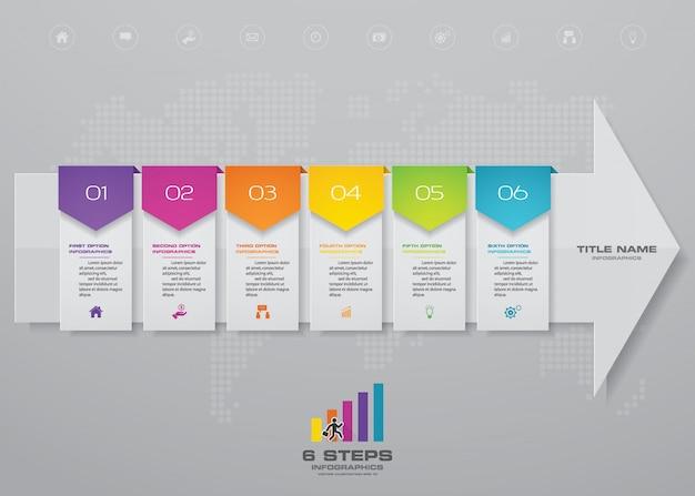 Infografiken-elementvorlagendiagramm mit 6 schritten.