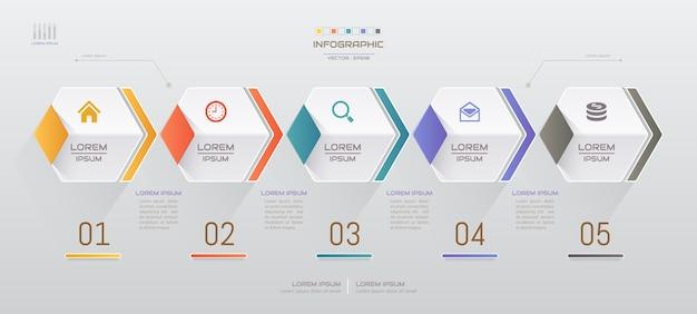 Infografiken entwurfsvorlage mit fünf schritten