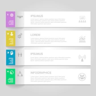 Infografiken entwurfsvorlage. nummerierte fahnen, horizontale ausschnittlinien für grafik