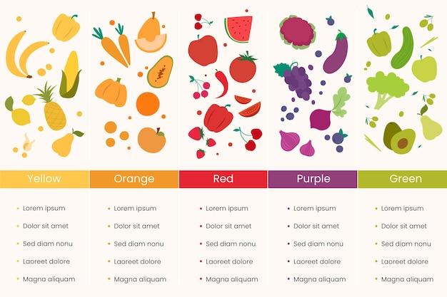 Infografiken essen ein regenbogenkonzept Kostenlosen Vektoren