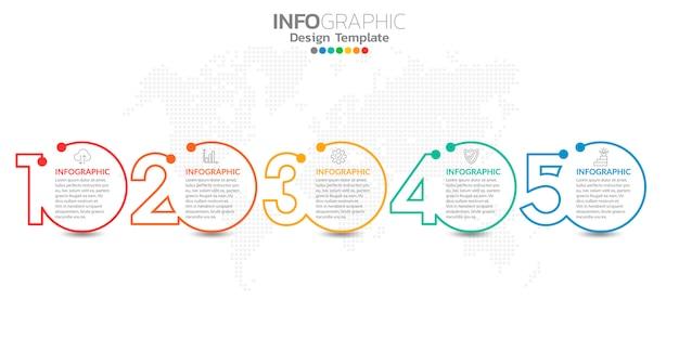 Infografiken für business-konzept mit symbolen und optionen oder schritten.