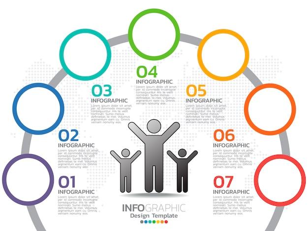 Infografiken für business-konzept mit symbolen und optionen
