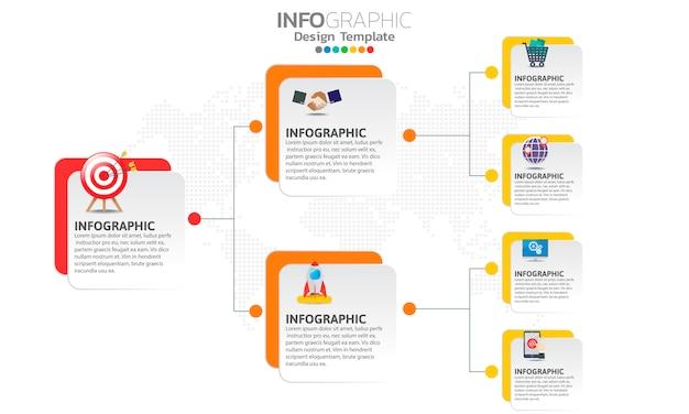 Infografiken für das geschäft mit schritten