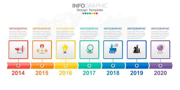 Infografiken für das geschäft mit symbolen und optionen oder schritten.