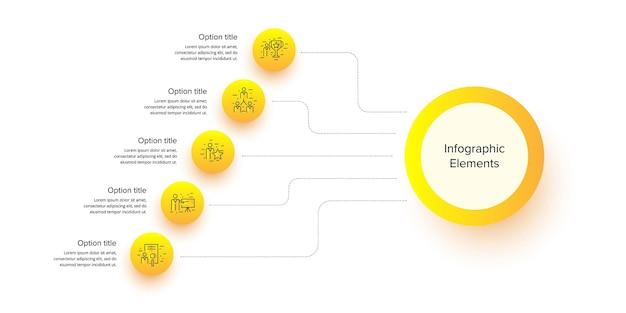 Infografiken für geschäftsprozessdiagramme mit 5 schrittkreisen