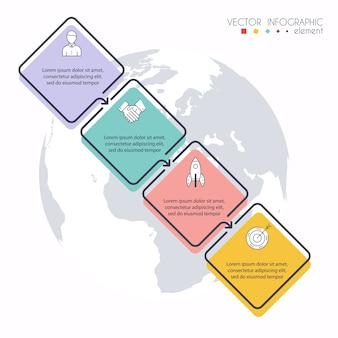 Infografiken für ihre geschäftspräsentationen. kann für website-layout, nummerierte banner, diagramme, horizontale ausschnittlinien, web verwendet werden.