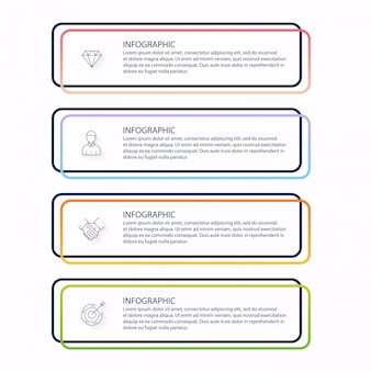 Infografiken für ihre geschäftspräsentationen. kann website-layout, nummerierte banner, diagramm, horizontale ausschnittlinien, web verwendet werden.