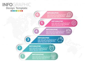 Infografiken für Geschäftsikonen und 6 Optionen oder Schritte.
