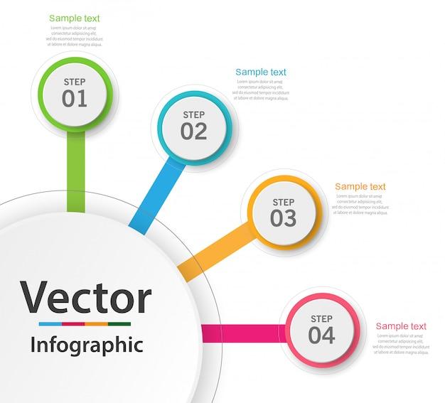 Infografiken geschäftskonzept mit 4 schritten oder optionen