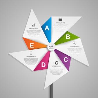 Infografiken in form von luft-windrad.