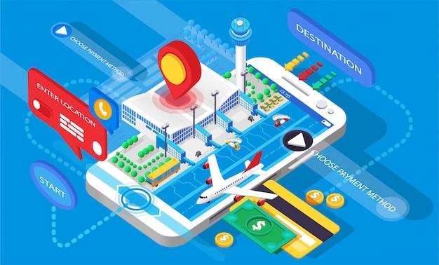 Infografiken isometrie 3d-anwendung mobiles flugzeug online-kauf buchung suche ticket flughafenreise reise moderne technologie geschäft smartphone kreditkarte bezahlen