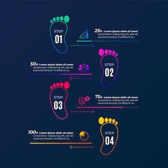 Infografiken-konzept mit flachem fußabdruck