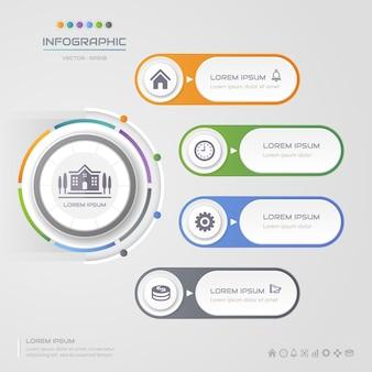 Infografiken kreis designvorlage mit symbolen