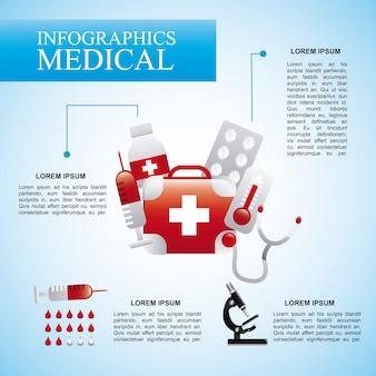 Infografiken medizinisch über blauer hintergrund vektor-illustration
