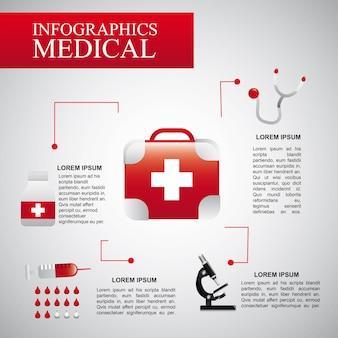 Infografiken medizinisch über grauer hintergrundvektorillustration
