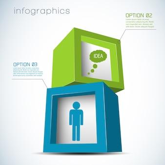 Infografiken mit 3d-komposition aus würfeln mit ikonen des menschen und der wolke