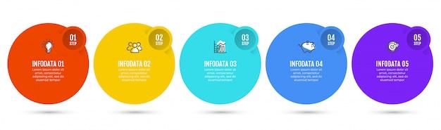 Infografiken mit 5 schritten.