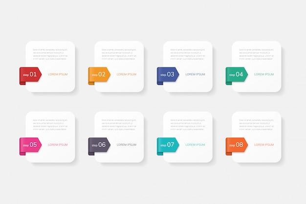 Infografiken mit 8 optionen, schritten oder prozessen.