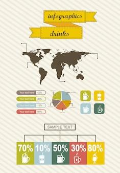 Infografiken mit bar vintage-stil vektor-illustration