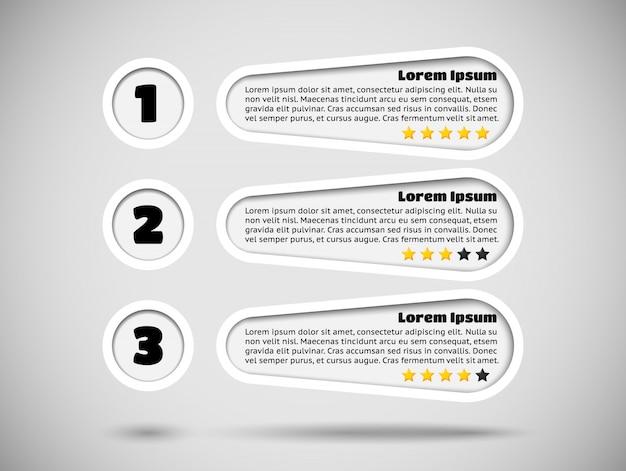 Infografiken mit menüpunkten und bewertung