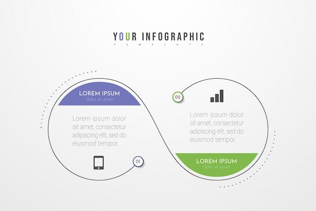 Infografiken mit optionen, schritten oder prozessen. kann für flussdiagramme, diagramme, präsentationen verwendet werden.