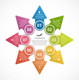 Infografiken mit pfeilen. infografiken für geschäftspräsentationen.