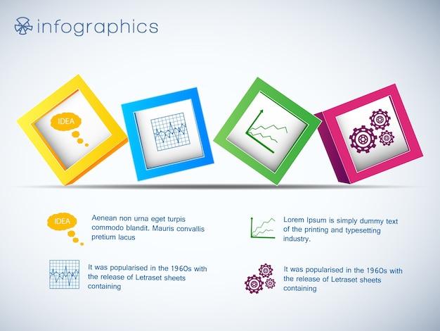 Infografiken mit reihe von 3d-würfeln und symbolen von diagrammen und einstellung auf weißer hintergrundvektorillustration