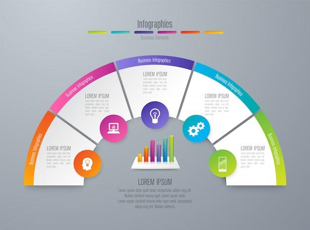 Infografiken mit schritten und optionen