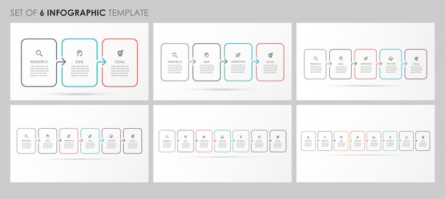 Infografiken mit symbolen und 3, 4, 5, 6, 7, 8 optionen oder schritten. unternehmenskonzept.