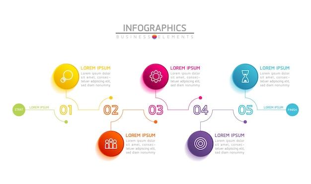 Infografiken. präsentation und diagramm. schritte oder prozesse. optionsnummer workflow-vorlagendesign. 5 schritte.
