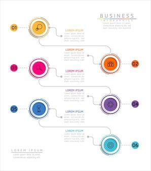 Infografiken. präsentation und diagramm. schritte oder prozesse. optionsnummer workflow-vorlagendesign. 6 schritte.