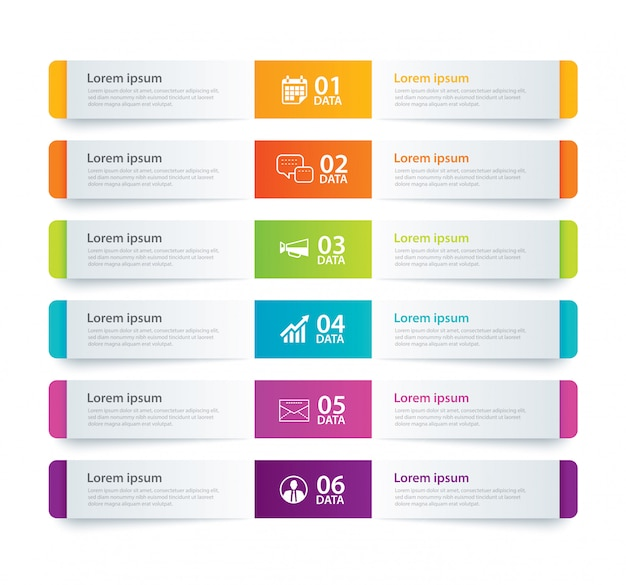 Infografiken registerblatt mit 6 datenvorlagen