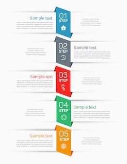 Infografiken registerkarte papier indexvorlage mit 5 schritten