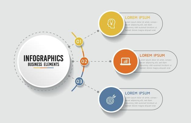 Infografiken. schritte oder prozesse. 3 schritte.