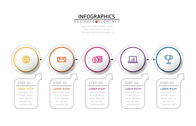 Infografiken. schritte oder prozesse. 5 schritte.