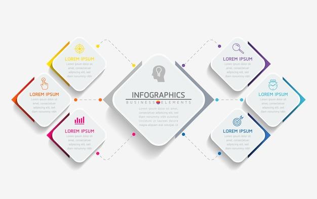 Infografiken. schritte oder prozesse. 6 schritte.