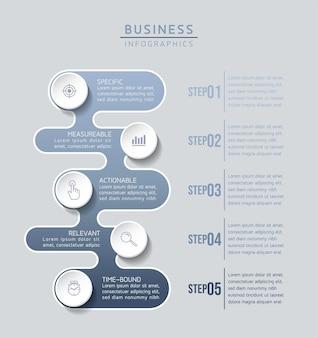 Infografiken. schritte oder prozesse. optionsnummer workflow-vorlagendesign. 5 schritte.