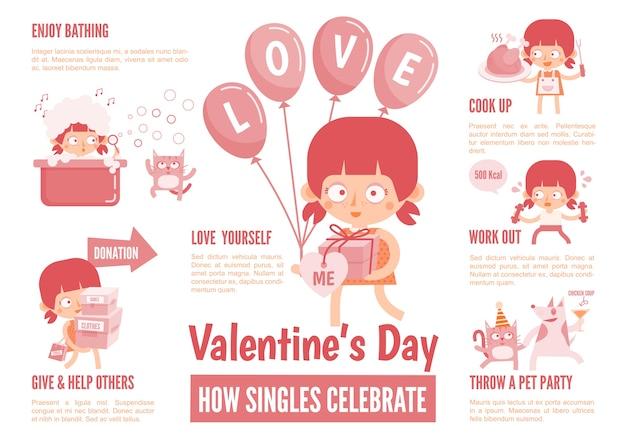 Infografiken über singles feiern den valentinstag