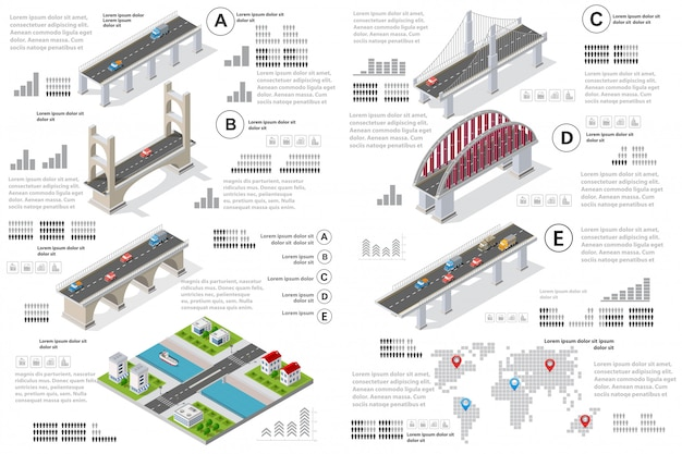 Infografiken von brücken im feld