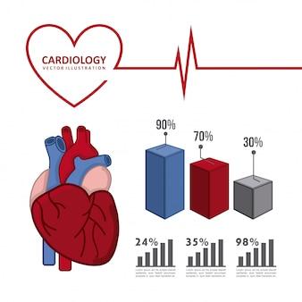 Infografiken von kardiologie design über weißem hintergrund vektor ich