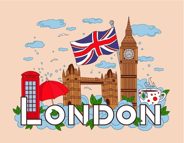 Infografiken von london reisen vektorhintergrund big ben tower bridge telefon tasse tee regenschirm wolke