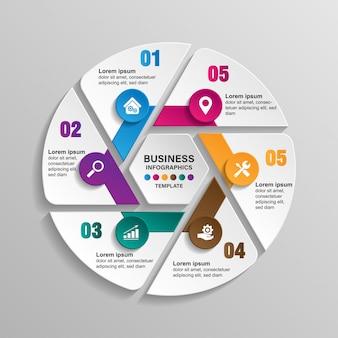 Infografiken vorlage 6 optionen mit kreis. daten- und informationsvisualisierung.