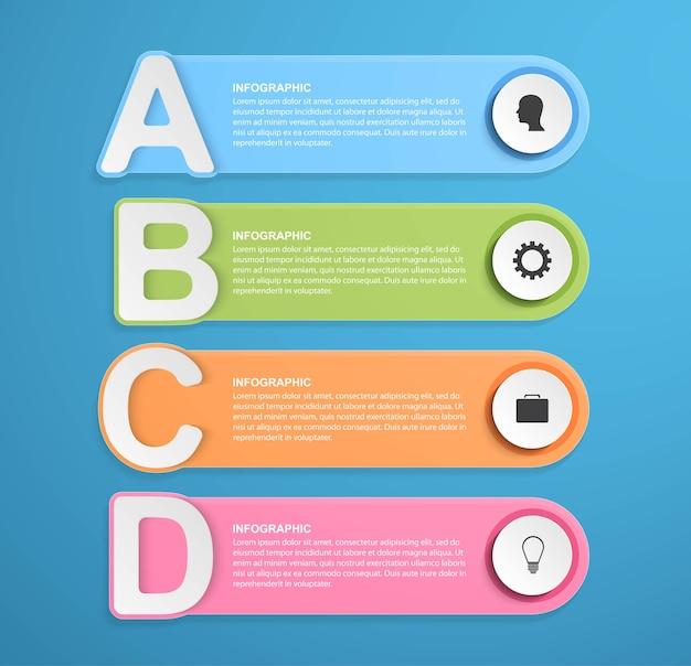 Infografiken-vorlage für abstrakte optionen. infografiken für geschäftspräsentationen.