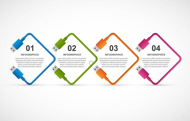 Infografiken-vorlage für abstrakte optionen. usb-kabel. infografiken