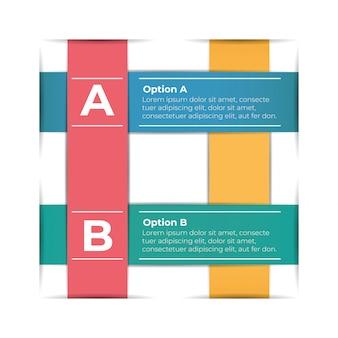 Infografiken-vorlage für abstraktes papier mit zwei schritten