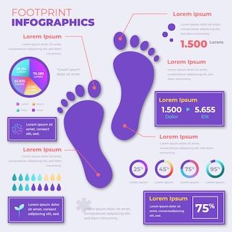 Infografiken-vorlage für farbverlaufsfußabdrücke