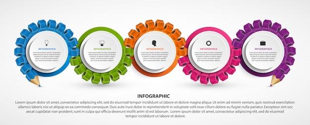 Infografiken vorlage mit bleistift.