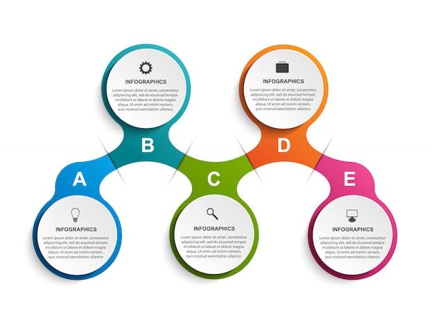 Infografiken vorlage mit fünf schritten des stoffwechsels