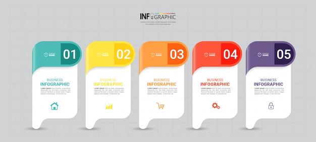 Infografiken vorlage mit fünf schritten